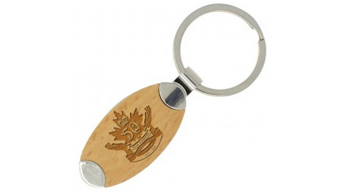 Oval maple keychain