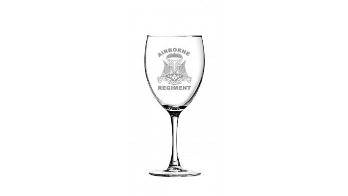 ''Bordeaux'' wine glass with the Regiment logo