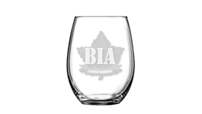 Stemless Wine glass with the Brothers in Arms logo.
